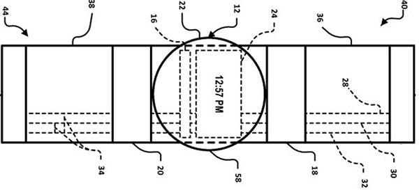 Un'immagine dal brevetto depositato da Google, relativo alla tecnologia messa a punto per gli smartwatch (USPTO)