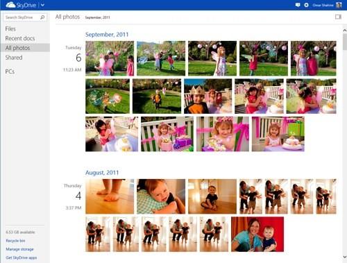 Timeline delle immagini su SkyDrive