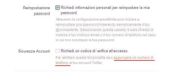 La doppia autenticazione su Twitter è opzionabile dal menù Impostazioni.