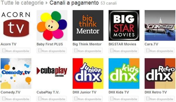 L'elenco dei canali a pagamento disponibili su YouTube, al momento non accessibili dall'Italia