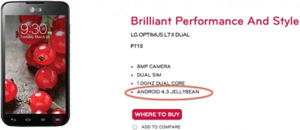 Android 4.3 Jelly Bean confermato dal sito ufficiale LG, con la scheda dello smartphone Optimus L7 II