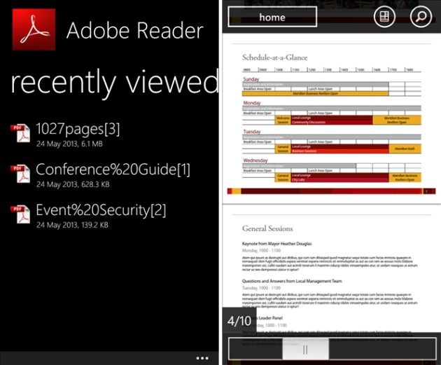 Adobe Reader 10.1 per Windows Phone 8.