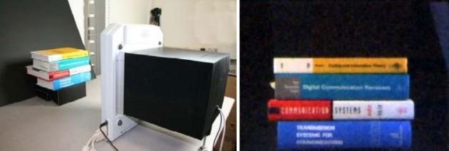 La fotocamera senza lenti dei Bell Labs e l'immagine finale.