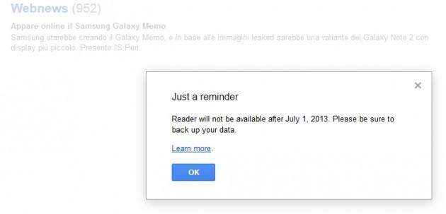 L'avviso su Google Reader.