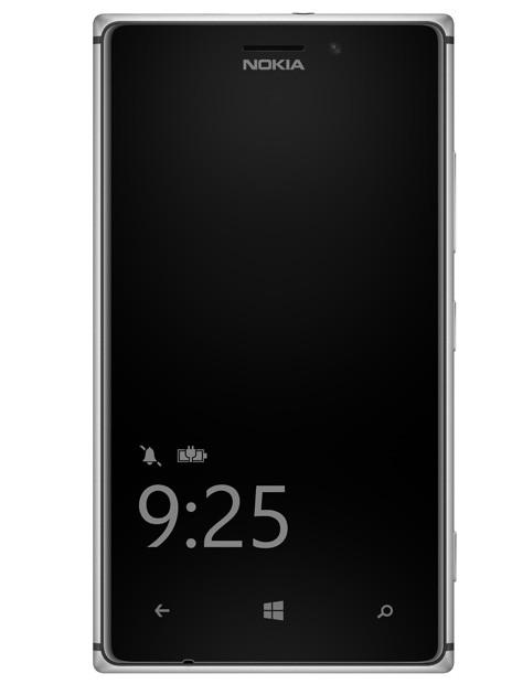 La schermata di blocco del Lumia 925 denominata Nokia Glance Screen.