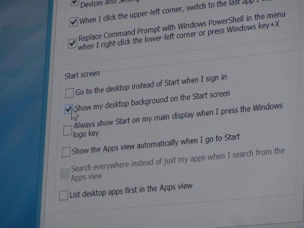 Il nuovo pannello in cui è presente l'opzione che permette di mostrare direttamente il desktop di Windows 8.1.