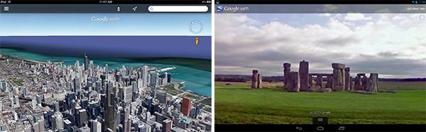 Lo skyline di Chicago in 3D nella nuova interfaccia (sinistra) e il sito inglese di Stonehenge (destra)