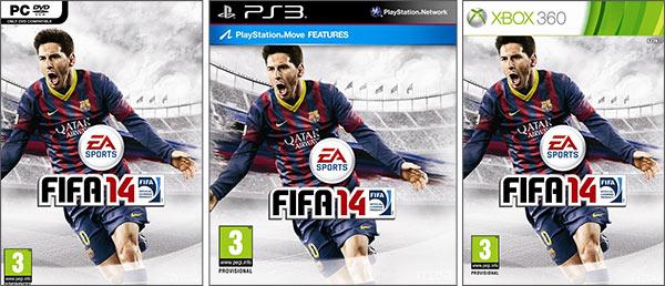 Lionel Messi immortalato sulla copertina di FIFA 14, nelle versioni PC, PlayStation 3 e Xbox 360
