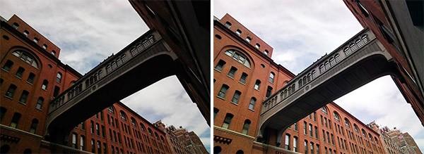 La stessa fotografia scattata con il vecchio software di Google Glass (sinistra) e con quello nuovo (destra)