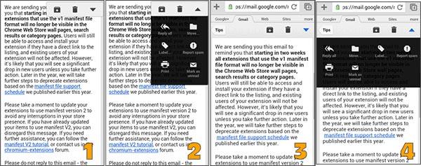 La nuova interfaccia di Gmail su browser mobile in fase di test (immagini 1 e 2) messa a confronto con quella attuale (immagini 3 e 4)
