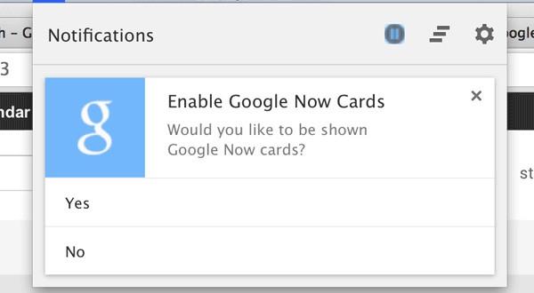 Una finestra chiede se si desidera attivare la visualizzazione delle schede Google Now all'interno di Chrome (CNET)