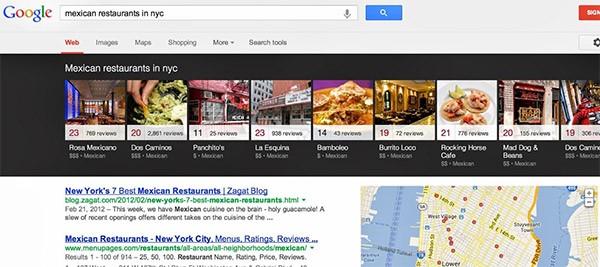 """Il """"carosello interattivo"""" mostrato nella parte superiore delle SERP di Google, in questo caso cercando ristoranti messicani"""