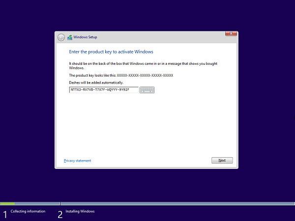 Windows 8.1 Preview: Seleziona codice prodotto