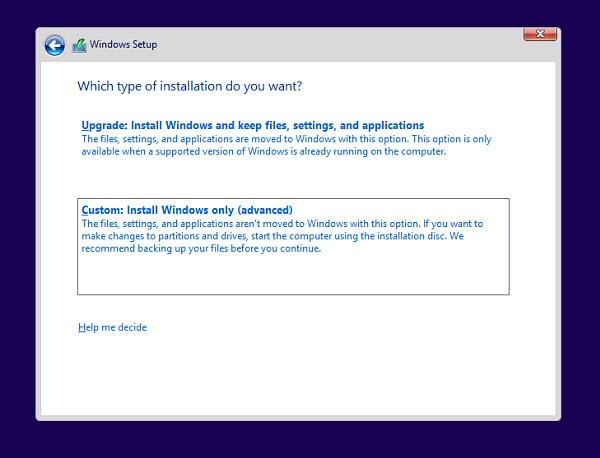 Windows 8.1 Preview: seleziona il metodo di installazione