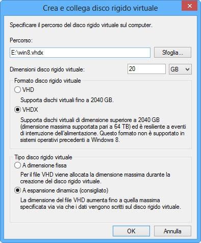 Windows 8.1 Preview: creazione del file VHD (2)