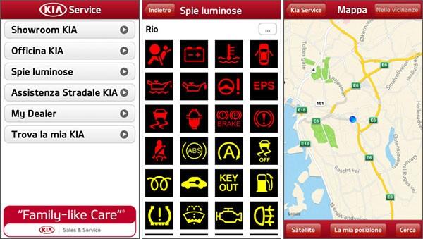 L'applicazione Kia Service, disponibile su Android e iOS, permette di trovare concessionarie e officine autorizzate su smartphone e tablet