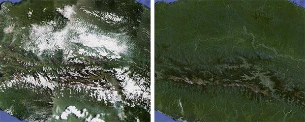 Indonesia, la regione centrale di Papua, prima (sinistra) e dopo l'aggiornamento) destra