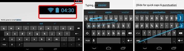Screenshot per la Tastiera Google rilasciata su Play Store, con il riferimento ad Android 4.3 JB