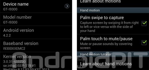 Immagini testimoniano l'arrivo di Android 4.2.2 Jelly Bean sullo smartphone Samsung Galaxy S3