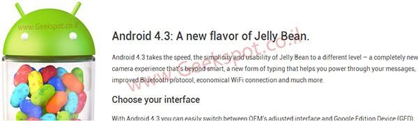 Un'immagine proveniente dal sito Developers confermerebbe l'arrivo di Android 4.3 Jelly Bean