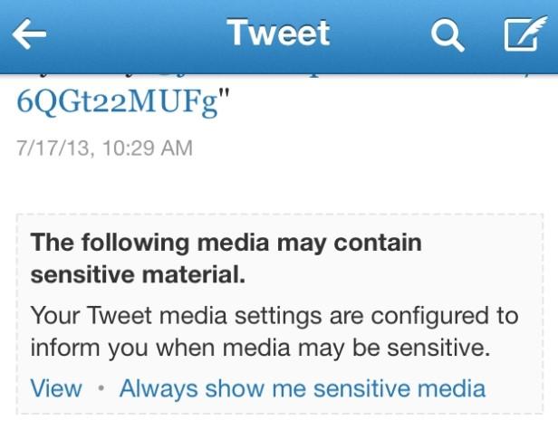 L'avvertimento mostrato quando il tweet contiene immagini non adatte ai minori.