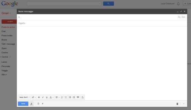 La nuova finestra di composizione di Gmail in modalità full screen.