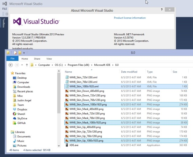 I file inclusi in Visual Studio 2013 che svelano l'arrivo del supporto full HD in Windows Phone 8.
