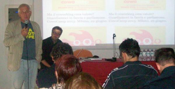 Michele Vianello al CowoCamp 2013: secondo il direttore di VEGA il coworking dovrebbe diventare una modalità di lavoro in tutti gli interscambi di una città.