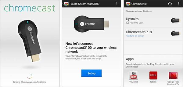 Screenshot per l'applicazione ufficiale Android di Chromecast