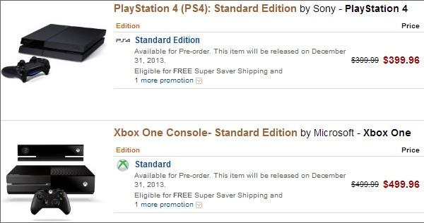 Le schede di PlayStation 4 e Xbox 360 su Amazon