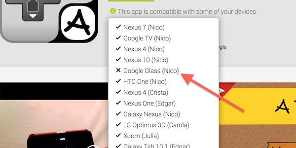 Google Glass compare nell'elenco dei dispositivi supportati e compatibili dello store Google Play