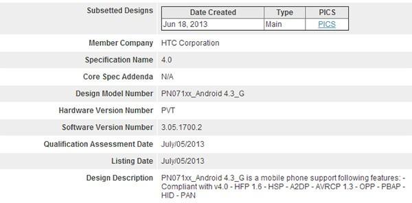 La certificazione Bluetooth SIG per Android 4.3 Jelly Bean sulla Google Edition di HTC One