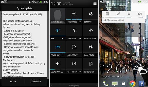 Screenshot dall'aggiornamento ad Android 4.2.2 Jelly Bean per lo smartphone HTC One