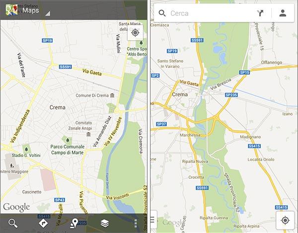 La vecchia interfaccia di Google Maps su Android (sinistra) messa a confronto con quella nuova (destra)