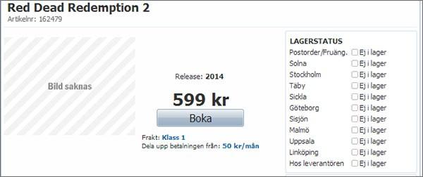 Red Dead Redemption 2 già acquistabile in pre-ordine su uno store online svedese