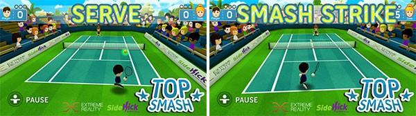 Screenshot per Top Smash, il gioco di tennis per Windows 8 che utilizza la webcam come una periferica motion controller