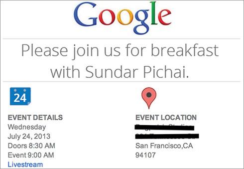 """L'invito all'evento """"Breakfast with Sundar Pichai"""" spedito da Google"""