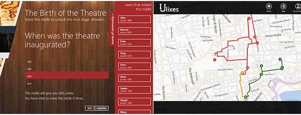 Due screenshot di Ulixes: a sinistra l'enigma da risolvere, a destra la mappa geolocalizzata.