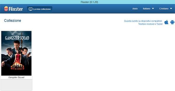 """La schermata """"La mia collezione"""" mostrata nell'applicazione Copia Digitale di Flixster (su Windows 8)"""