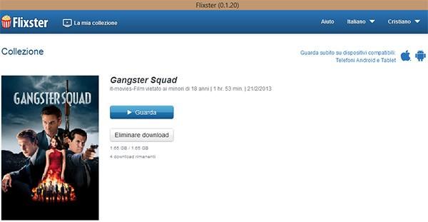Al termine del download è possibile iniziare la visione del film