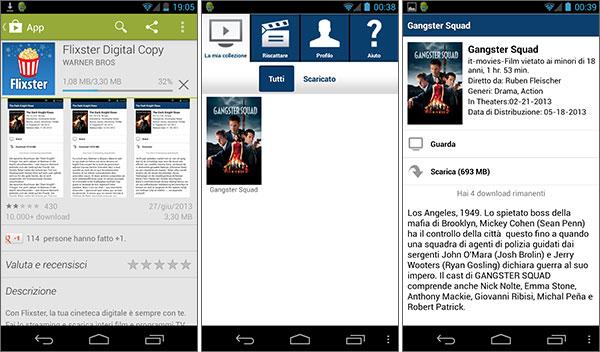 L'applicazione Flixster Digital Copy per dispositivi Android
