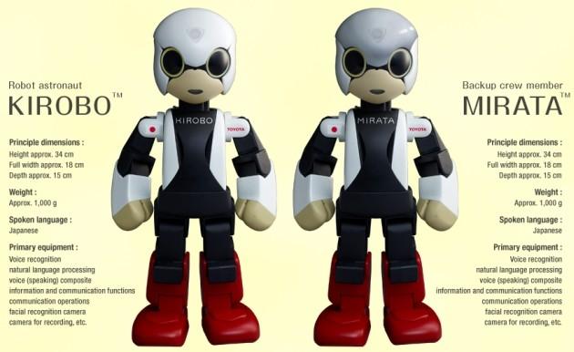 Kirobo, il robot che salirà sulla ISS, e Mirata, il gemello che rimarra sulla Terra.