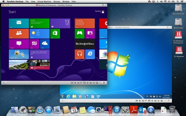 Windows 7 e Windows 8 su OS X con Parallels Desktop 9 per Mac.