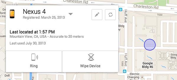 La schermata di localizzazione dello smartphone con Android Device Manager
