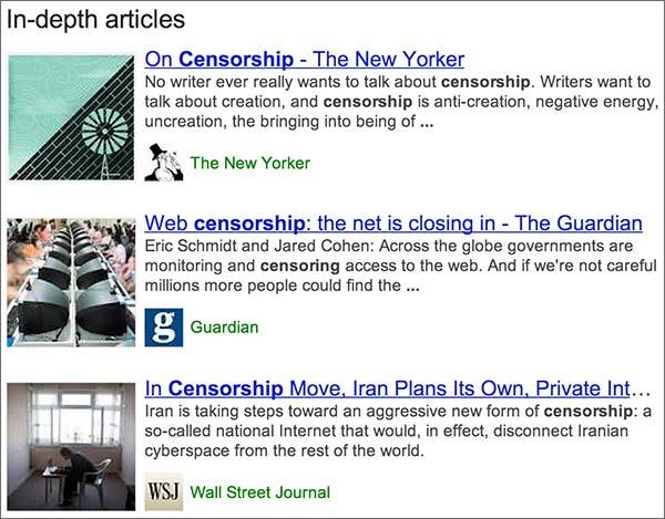 """La sezione """"In-depth articles"""" lanciata da Google nelle SERP del proprio motore di ricerca"""