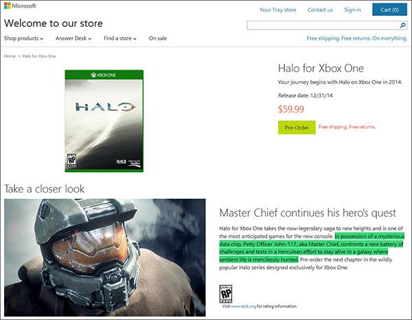 Primi dettagli su Halo per Xbox One dal Microsoft Store
