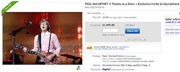 L'inserzione di Paul McCartney: l'ex beatles mette in palio una edizione deluxe degli album degli Whings, due biglietti per un suo concerto e un incontro dietro le quinte durante il sound check. L'offerta vincitrice verrà devoluta a un ospedale.