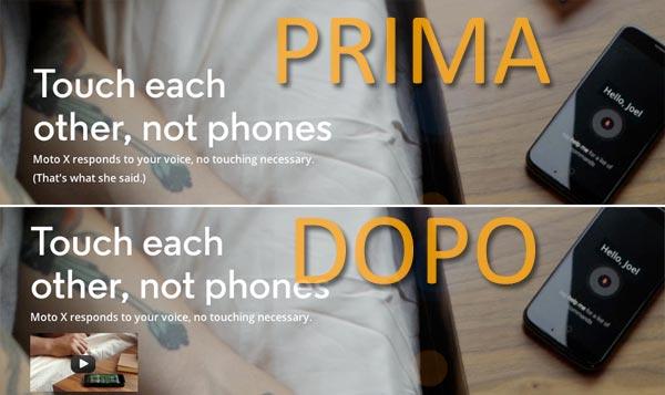 """La pubblicità di Moto X relativa ai comandi vocali, prima e dopo la """"censura"""""""