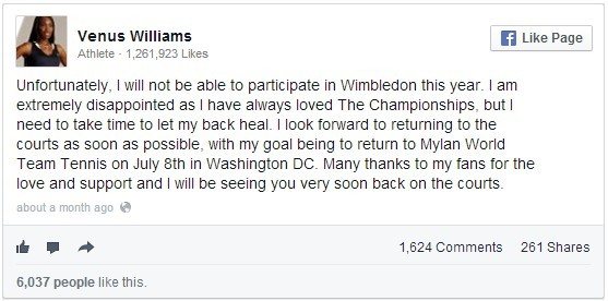 Embed di un post di Venus Williams
