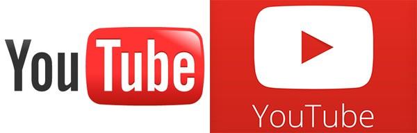 Il logo di YouTube, prima e dopo il restyling
